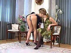 Steamy lesbian maid indulging her lust in ass-plowing using huge strap-on