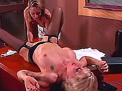 Lezzie gets pussy massage in class