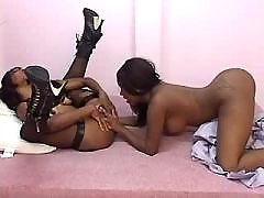 Nice black lesbian girl with tempting body