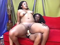 Black sluts lick each other in orgy