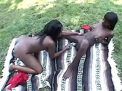 Hot black lesbians lick each other