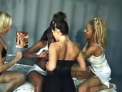 Horny black lesbian girls have sex party
