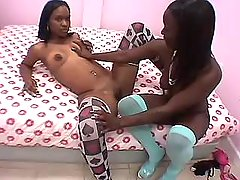 Nice chocolate lesbians makes oral sex